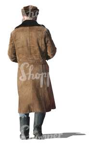 cut out elderly man in a winter coat walking