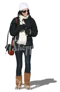cut out woman in a winter jacket standing