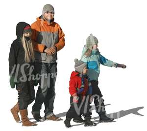 cut out man with three children walking in winter
