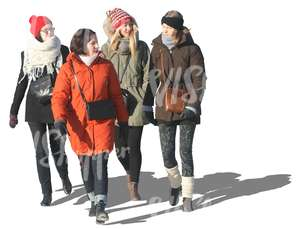 cut out group of women walking in winter