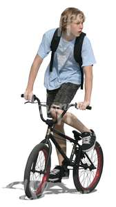 cut out teenage boy riding a bmx bike