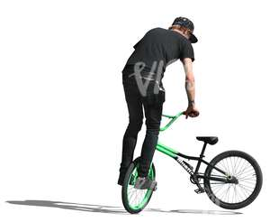 cut out teenage boy jumping with a bike