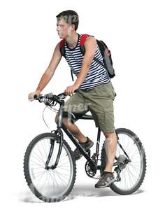 cut out man in shorts riding a bike
