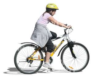 cut out teenage girl with a helmet cycling
