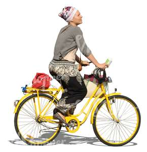 cut out woman riding a yellow bike