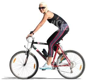 cut out blond woman cycling
