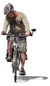man with a helmet riding a bike