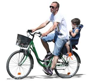 man riding a bike with a boy at back