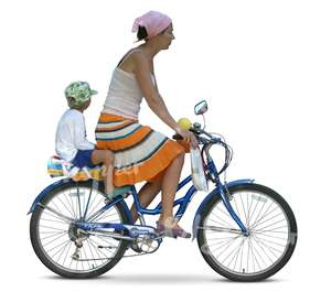 woman riding a bike with a boy at back