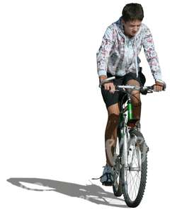cut out young man in shorts cycling