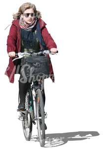 woman with sunglasses riding a city bike