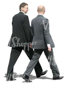 two businessmen walking and talking