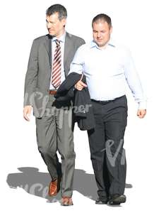 two cut out businessmen walking
