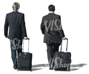 two travelling businessmen walking with suitcases