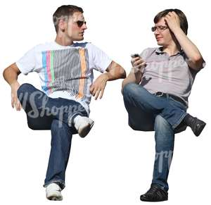 two cut out men sitting and talking