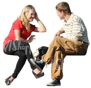 cut out woman and man sitting and talking