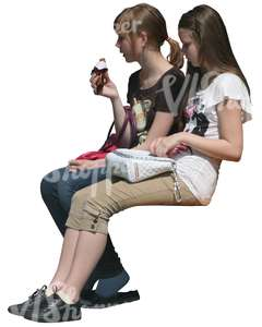 two cut out girls sitting and eating ice cream
