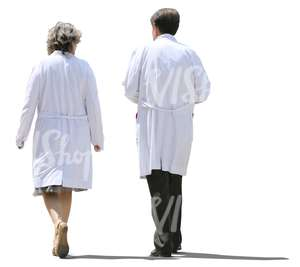 two cut out doctors walking