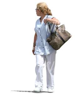 cut out medical worker with a hand bag walking