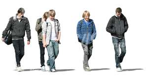 cut out group of teenage boys walking