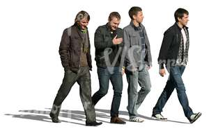 four cut out men walking