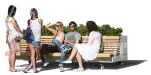 cut out group of people sitting on the bench