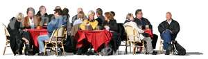 cut out group of people sitting in a cafe