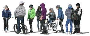 cut out group of teenage boys with bikes