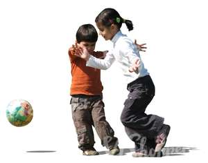 cut out little boy and girl playing football