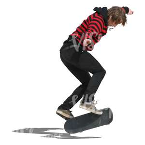 teenager doing a stunt on the skateboard