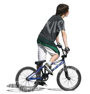 cut out teenager riding a bmx bike