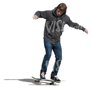 cut out teenager riding a skateboard