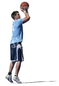 cut out man playing basketball