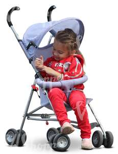 cut out girl sitting in a stroller