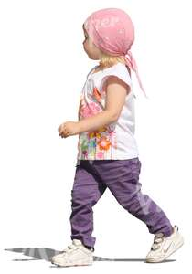 cut out girl with a head scarf walking