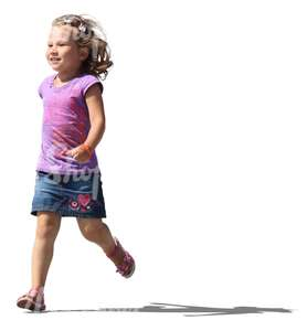 cut out smiling girl running