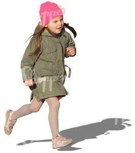 cut out girl in a spring coat running