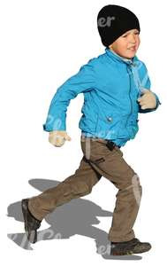 cut out boy running in autumn