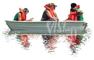 group of people riding in a row boat