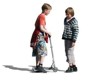 two boys with a scooter standing and talking