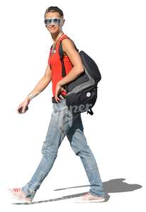 cut out woman carrying a sports bag walking
