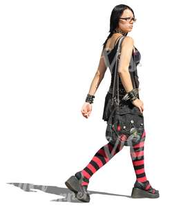cut out woman in goth style outfit walking