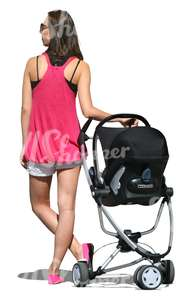 cut out woman with a baby stroller standing