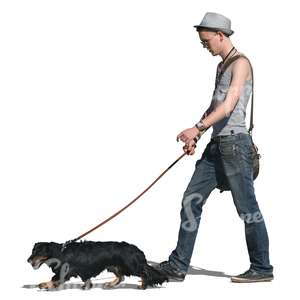 cut out man walking a dachshund