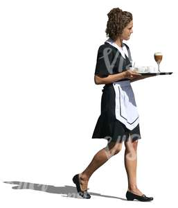 cut out waitress carrying a tray