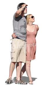 cut out couple standing and looking at smth