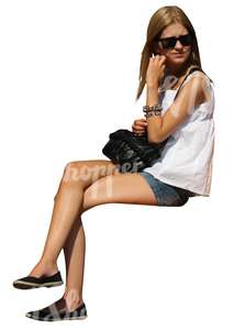 cut out woman sitting in summer