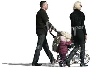 cut out family of three walking