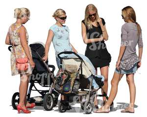 four women with baby strollers talking