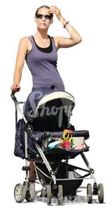 cut out woman standing with a baby carriage